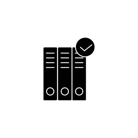 Binder folders check mark icon vector. Business document paperwork organization . Law archive regulations illustration. Data Compliance sign.