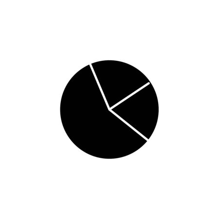 Pie chart graph sign icon. Diagram - black vector icon with shadow