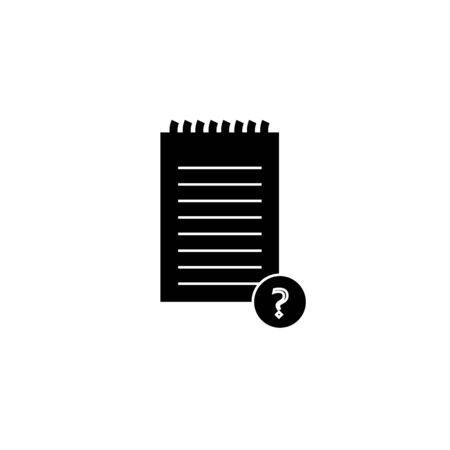 Black Unknown document icon isolated on white background. File with Question mark. Hold report, service and global search sign. Vector Illustration Ilustracja