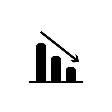 Vector declining graph black icon