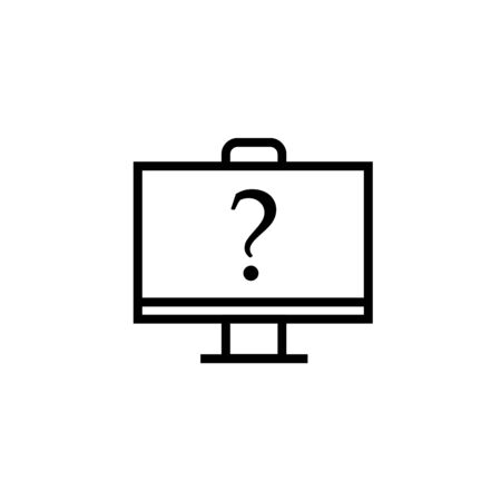 Online question outline icon. linear style sign for mobile concept and web design. monitor with question mark simple line vector icon. Symbol, illustration. Pixel perfect vector graphics Ilustracja