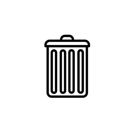 Trash can icon thin line for web and mobile, modern minimalistic flat design. Vector dark grey icon on light grey background. Illusztráció
