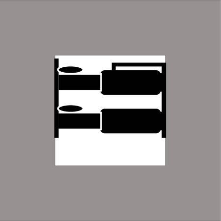 Bunk bed black icon vector