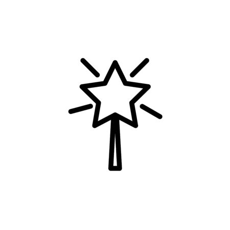shining star fairy stick Xmas black solid design icon.