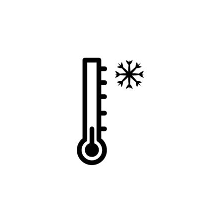 Thermometer and snowflake line icon, outline vector sign, linear pictogram isolated on white. Cold temperature symbol, illustration