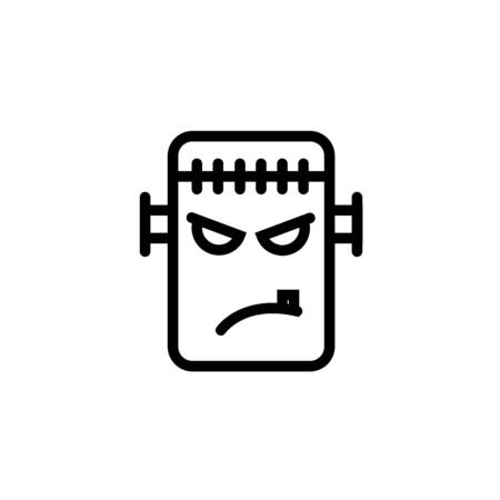 Frankenstein thin line icon, halloween and monster, zombie sign, vector graphics, a linear pattern on a white background