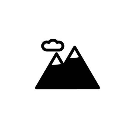 Mountains symbol. Outline mountains icon. Mountains vector illustration for graphic art.