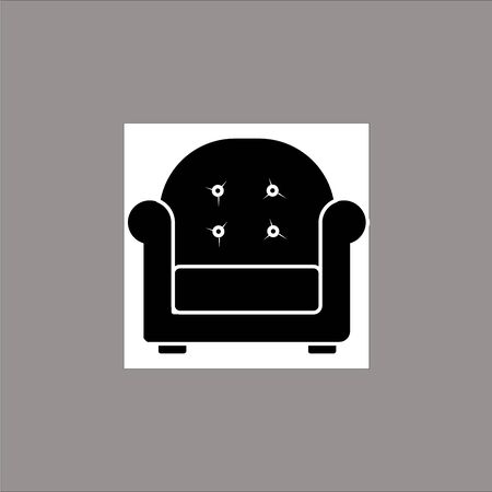 Chair, Sofa Isolated Flat Web Mobile Icon  Vector  Sign  Symbol  Button  Element  Silhouette Ilustracja