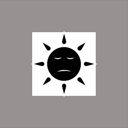 Sun face with grumpy, sad emotion expressions for summer. It is so hot. Isolated on blue Background. Vector Illustration.
