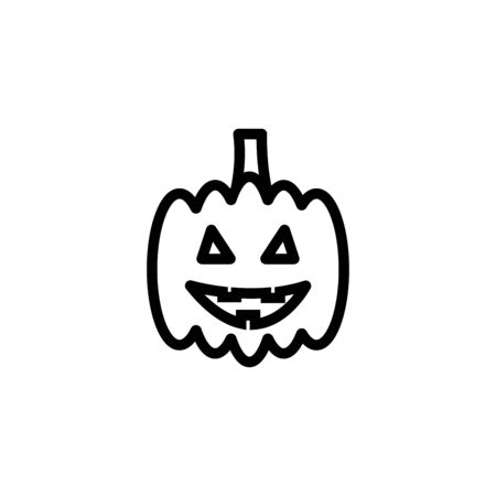 Pumpkin line icon, outline vector sign, linear style pictogram isolated on white. Halloween holiday symbol, illustration. Editable stroke Ilustracja