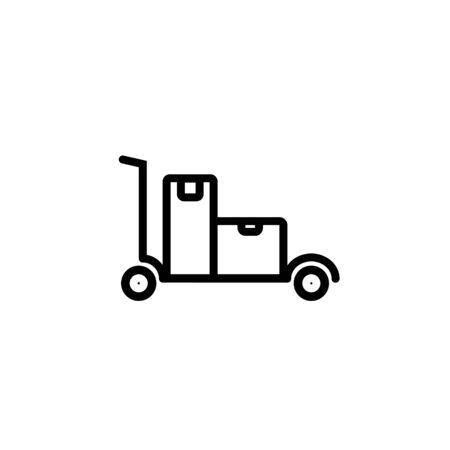 silhouette of rolling luggage trolly or cart with luggage on it Illustration