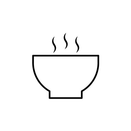 Hot soup bowl line icon, outline and filled vector sign, linear and full pictogram isolated on white. Symbol, illustration