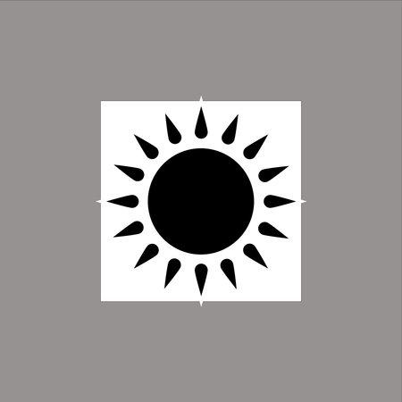 White and Black Sun Symbol Stock Illustratie