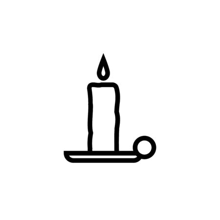 Old fashioned lit candle candlestick on holder flat vector icon for apps and websites Illustration