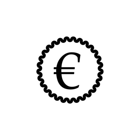 Icon shows a label with a sign of euro on it. Pixel precise design. Suitable for all devices, SEO, SMM, UX. Perfect for use in presentations, analytical reports, branding and many other Ilustracja