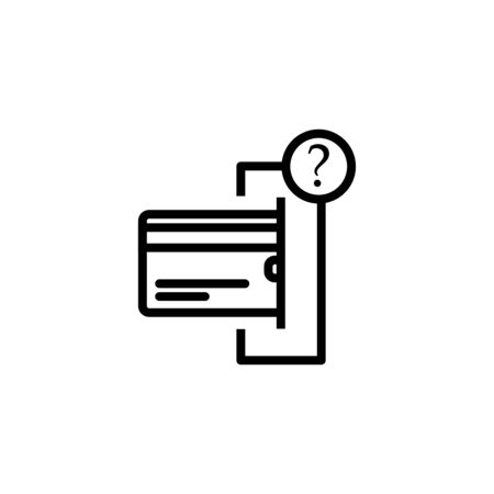Line art. questions about credit and debit card. Vector