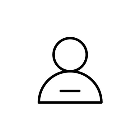 Vector illustration of thin line remove male user action icon. Could be used as menu button, user interface element template, badge, sign, symbol, company