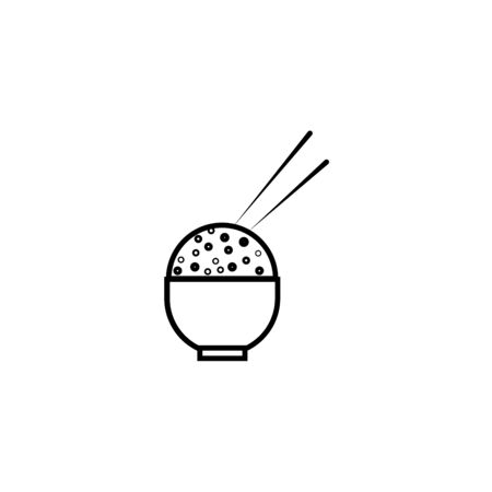 Chinese Noodles bowl and Chopsticks vector icon