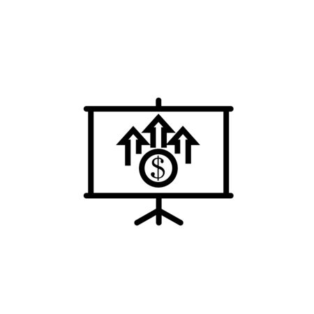 Finance report presentation line icon. Blackboard with graph report and dollar coin vector outline sign. Illusztráció