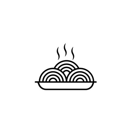 Pastas icon or isolated on white. Vector stylized Spaghetti or noodle with fork template for internet, design, decoration. Authentic Italian food