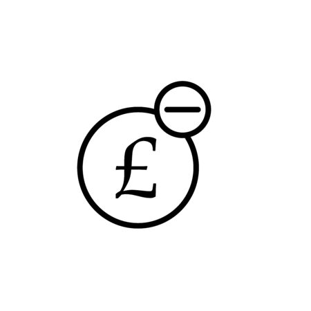 British Pound mini line, icon, background and graphic. The icon is black and white, linear flat, vector, pixel perfect, minimal, suitable for web and print. 일러스트