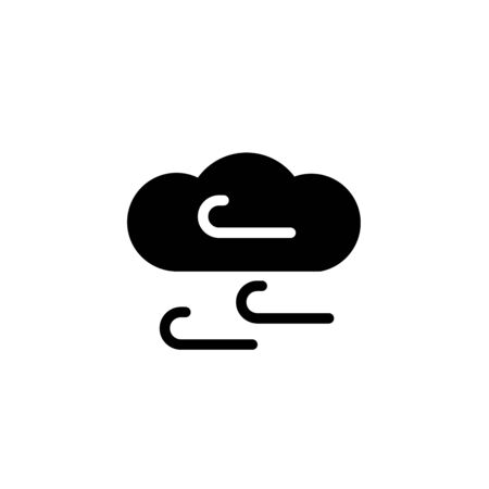 Black Windy weather icon isolated on white background. Cloud and wind. Set icons in color square buttons. Vector Illustration Ilustração