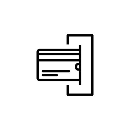 credit card inserting it into the ATM. Premium quality graphic design element. Modern sign, linear pictogram, outline symbol, simple thin line icon