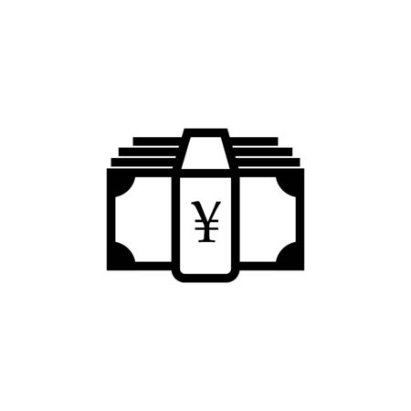 Money icon. Yen and cash, coin, currency, bank symbol. Flat design. Stock - Vector illustration