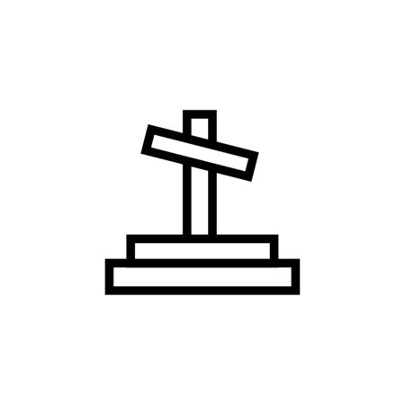 Black Tombstone with cross icon isolated on white background. Grave icon. Set icons colorful square buttons. Vector Illustration