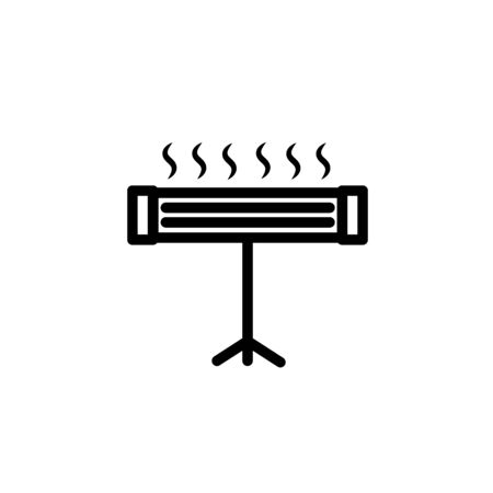 Black Electric heater icon isolated on white background. Infrared floor heater with remote control. House climate control. Vector Illustration