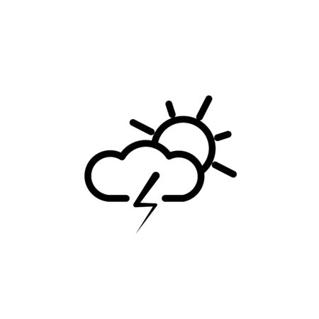 Storm icon isolated on white background. Cloud sun and lightning sign. Weather icon of storm. Vector Illustration 일러스트