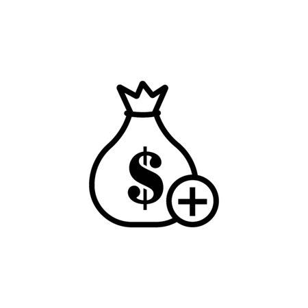 Money bag line icon. Cash Banking currency sign. Dollar or USD symbol. Geometric shapes. Random cross elements. Linear Money bag icon design. Vector 일러스트