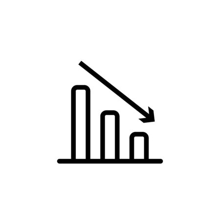 Vector declining graph vector icon