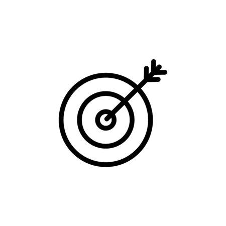 icon flat target with dart in black, isolated, shaded Illusztráció
