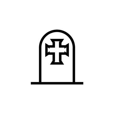 Tombstone cross icon line element. Vector illustration of tombstone cross icon line isolated on clean background for your web mobile app design.  イラスト・ベクター素材