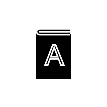 ABC book icon. Alphabet black isolated vector illustration