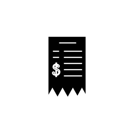 Black Paper check and financial check icon isolated on white background. Paper print check, shop receipt or bill. Vector Illustration