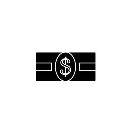 Flat dollar sign, black money dollar icon isolated on white background
