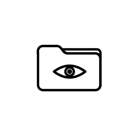 Folder eye network icon. Outline folder eye network vector icon for web design isolated on white background