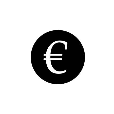 euro money flat icon finance business web icon Money price euro black coin business icon vector illustration profit Icon symbol design vector. Vector Illustration