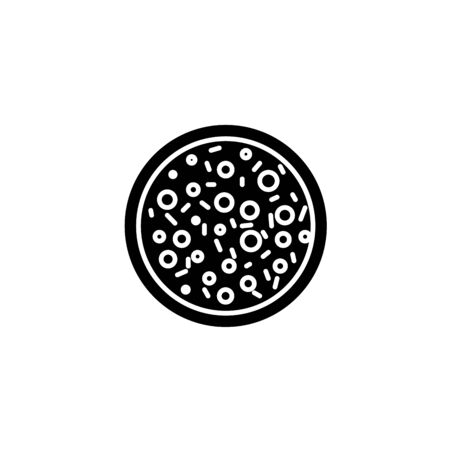 Simple black icon. Cooked pizza with cutted piece with tomato and mushroom.