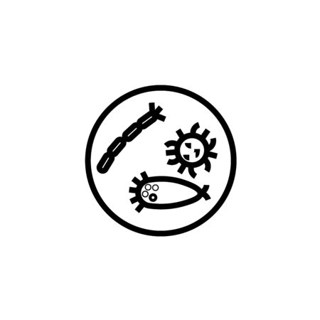 Microbes. Agar plate with bacterial colonies line icon, outline vector illustration, linear pictogram isolated on white Vectores