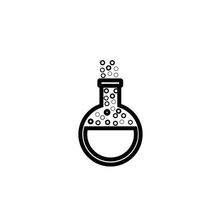 Matraz de química - icono negro sobre fondo blanco ilustración vectorial para sitio web, aplicación móvil, presentación, infografía. Signo de concepto de tubo de ensayo. Elemento de diseño gráfico.