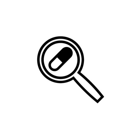 Pills inside magnifier concept of search pharmacy icon