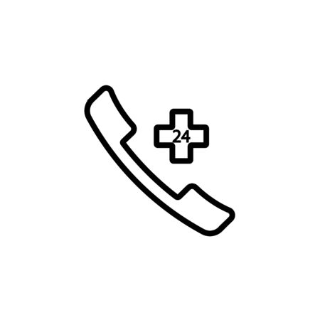 Emergency call line icon, medicine and healthcare, medical support sign vector graphics, a linear pattern on a white background, eps 10. Illustration