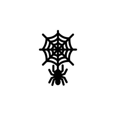 Spider web with spider for post card. Halloween stock vector illustration Ilustração
