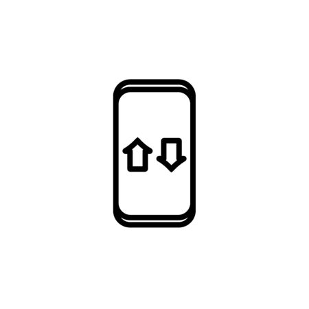 Vector Icon of data downloading on mobile phone. Mobile traffic related symbol. Icon in outline flat style