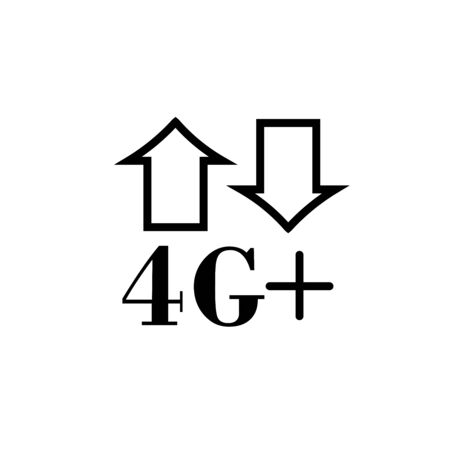 Fourth generation network plus and internet connectivity logotype