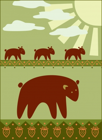 mother bear with her kids  Vector
