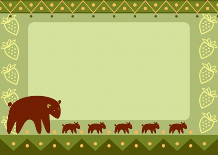 mother bear with her kids  Illustration